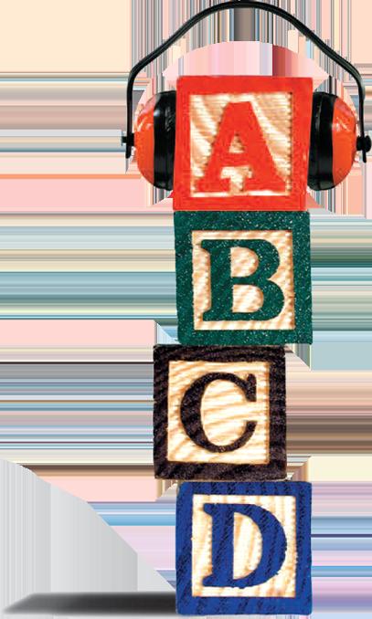 alphabet blocks with headset