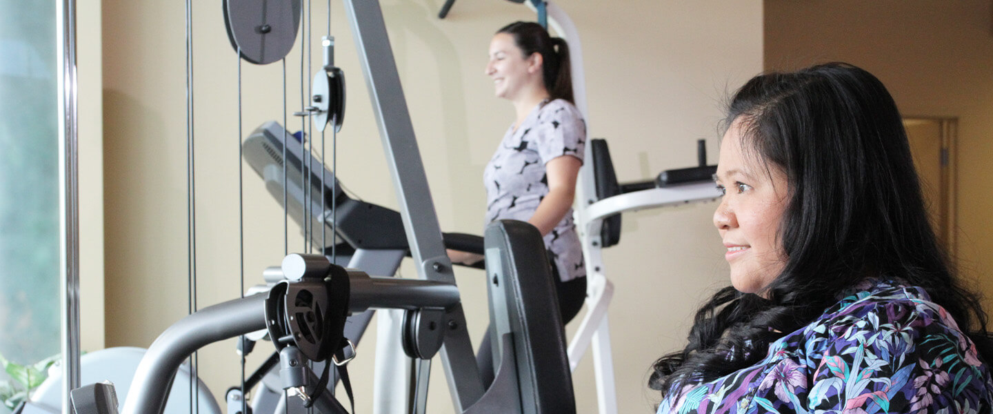 patients on exercise equipment