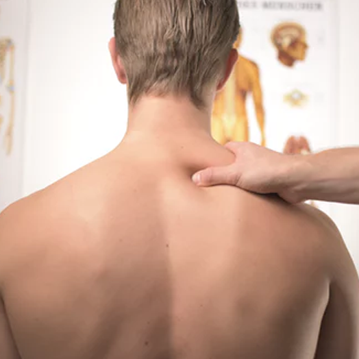 Chiropractor with hands on patient's back