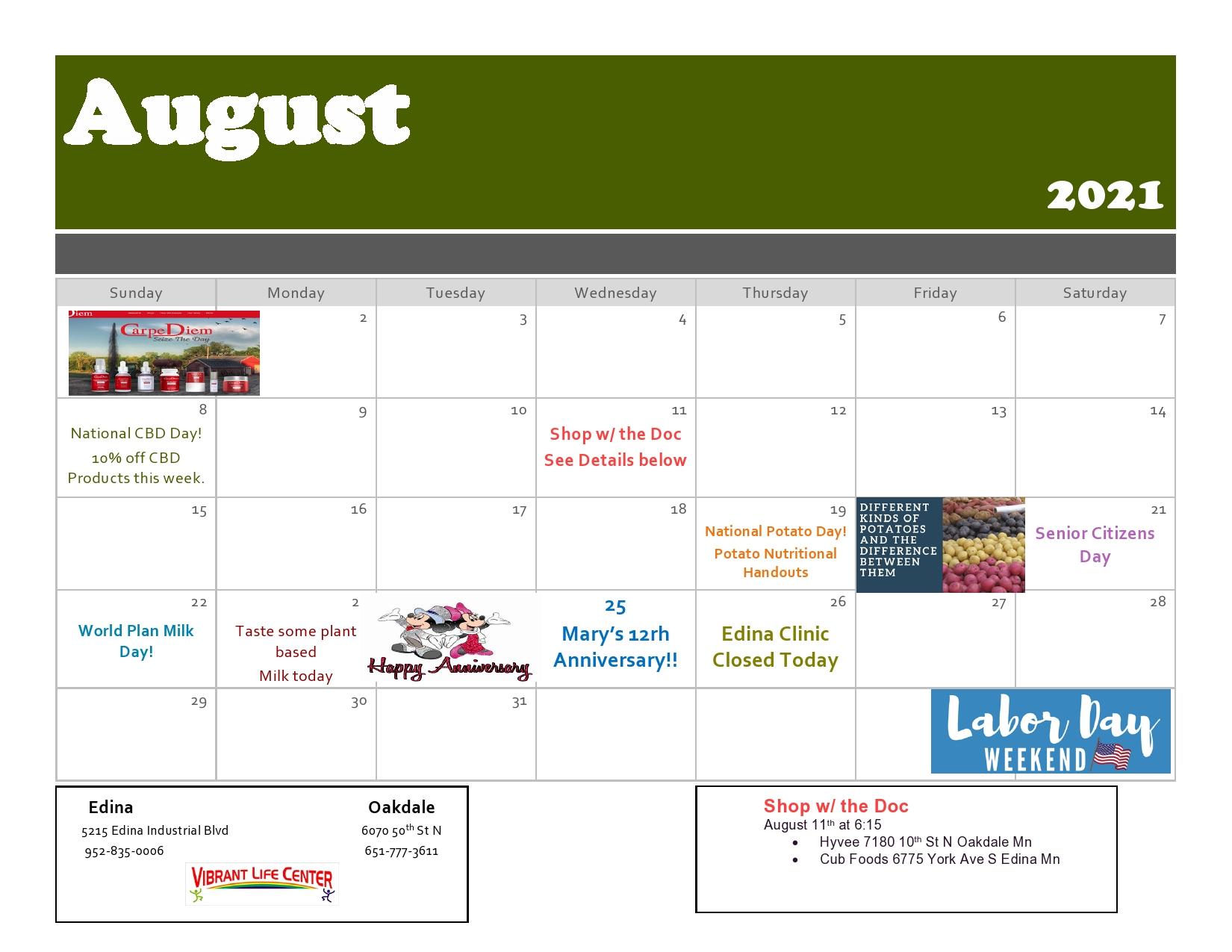 August 2021 event calendar