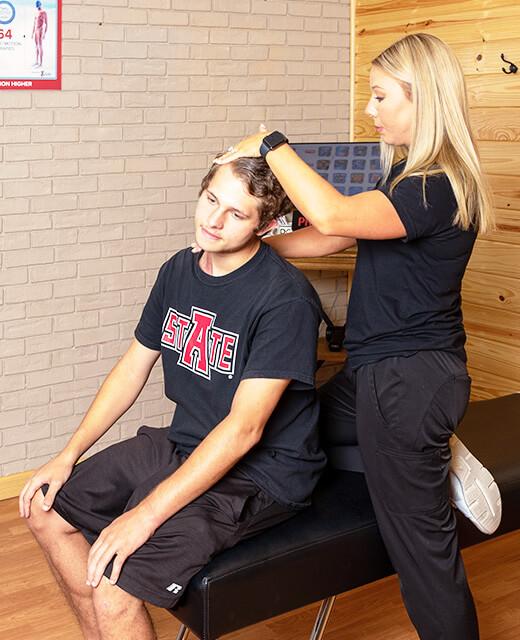 stretching patient's neck