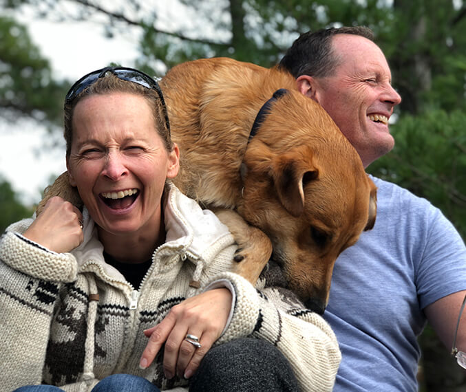 Dr. Dingman with her husband and dog