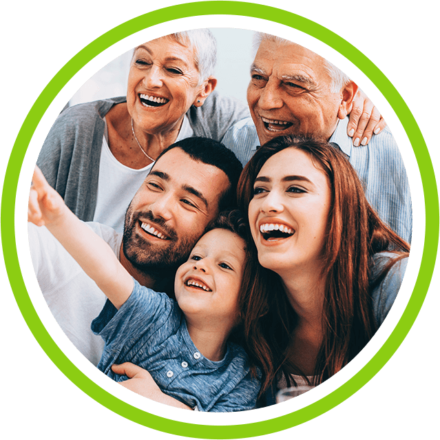 Multi-generational smiling happy family