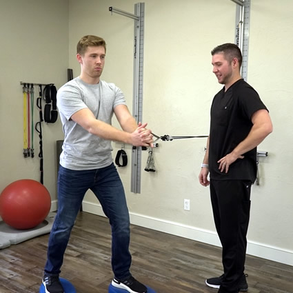 Man doing physiotherapy