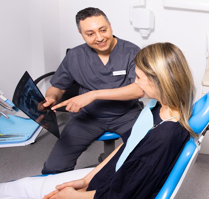 Mina showing patient xray