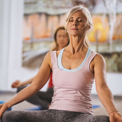 Woman breathing exercise