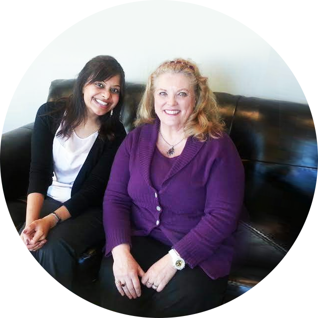 Dr Shilpa and woman sitting on couch
