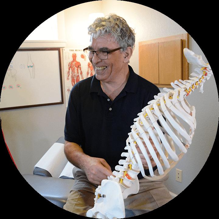 Dr. Keeler with spine model