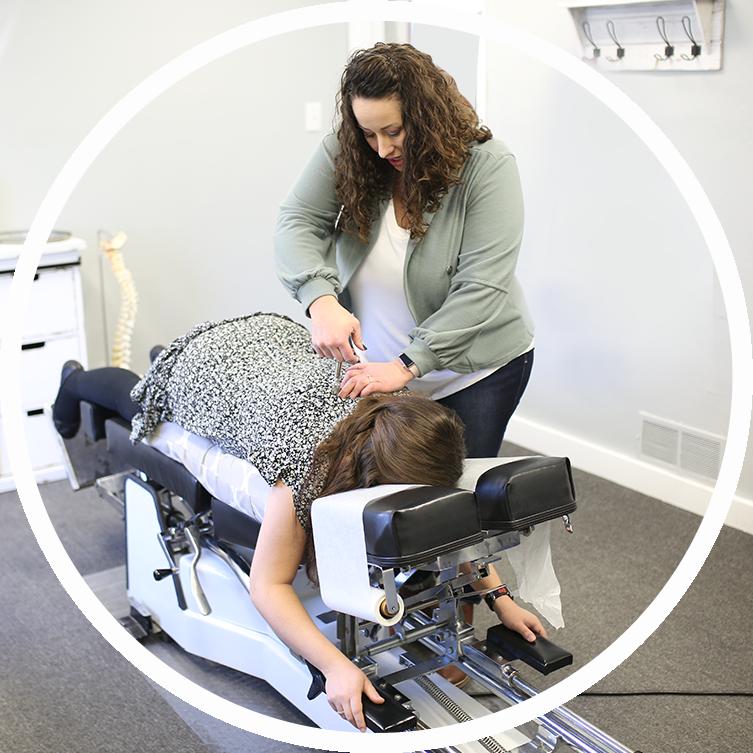 Dr. Katy adjusting patient
