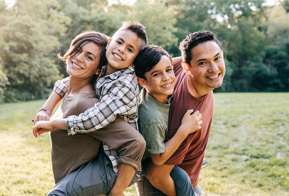 Smiling family of 4