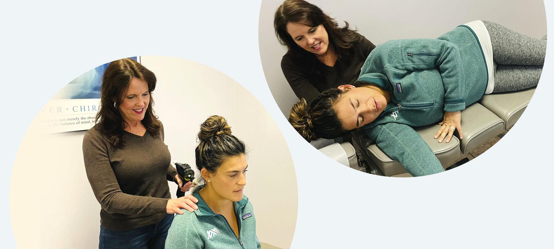 Dr Beth adjusting patients