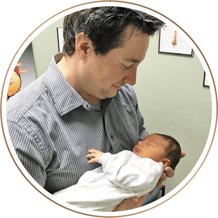 Dr. Faught with newborn