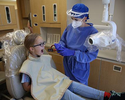Girl getting x-ray