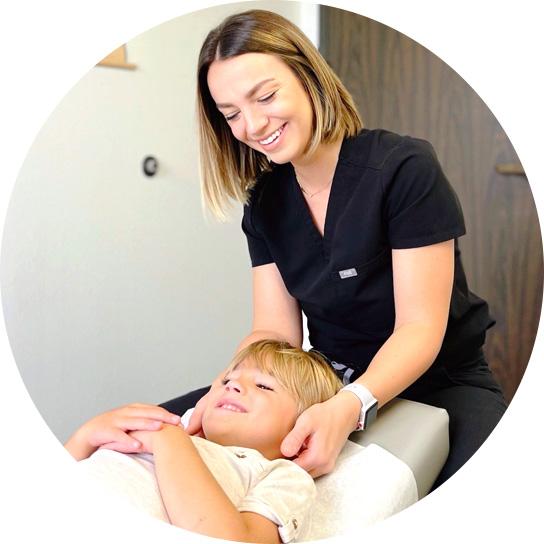 Doctor adjusting a child