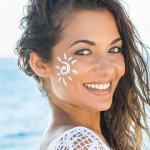 WOman painted face smiling