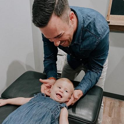 Infant getting adjusted