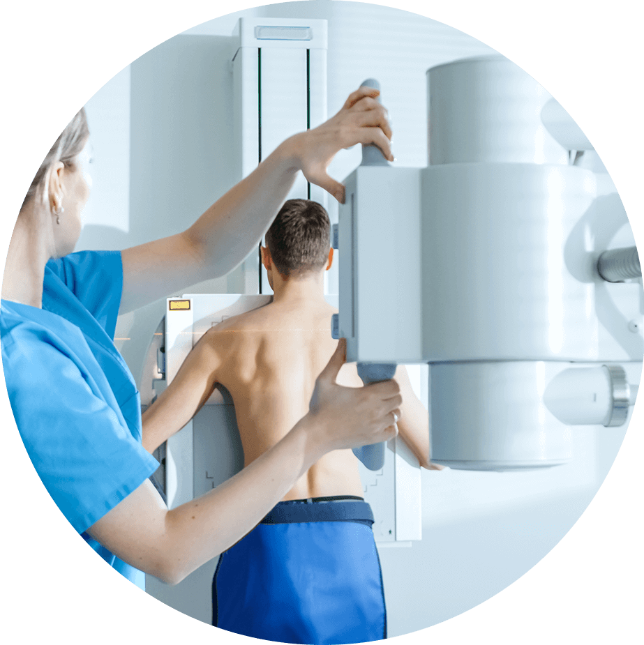 man getting xray of back