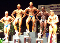 Dr. Calhoun winning the Tall Masters Class in the American Natural National Bodybuilding Championship.