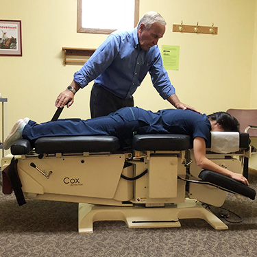 Patient on adjusting table