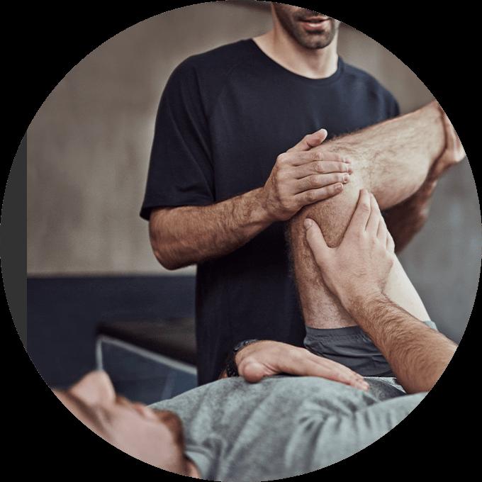 Patient stretching leg