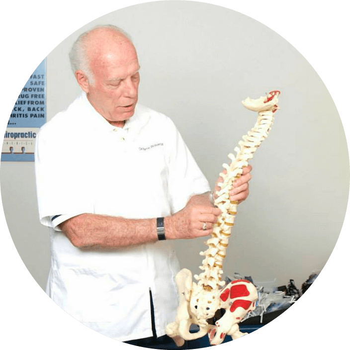 Dr. Wolverton with spine model