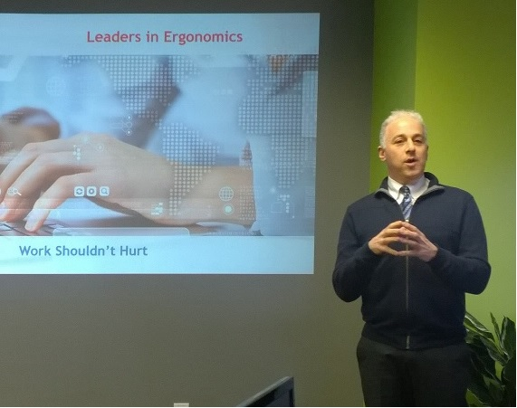 Photo of Dr. D during a leaders in ergonomics presentation