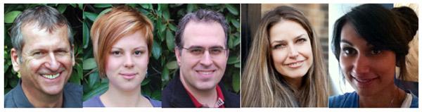 L to R: Dr. Roger Bendle; Kaya Ruddock, RMT; Dr. N. Nounopoulos; Delphine Baumer, Registered Acupuncturist; and Danielle Evanoff, RMT.