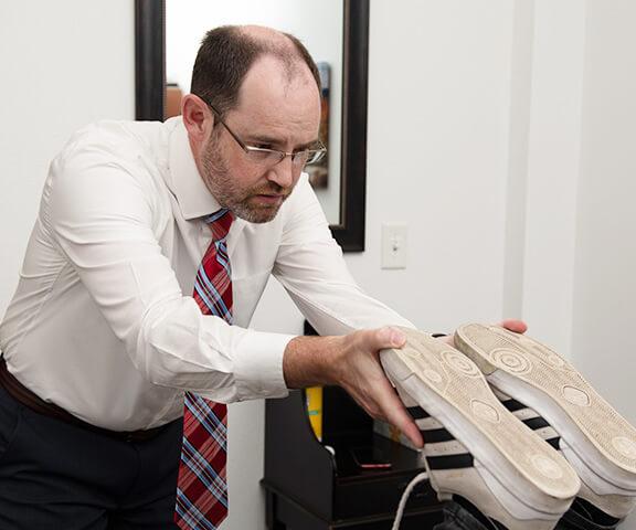 Dr. Mark Oberg checking leg length