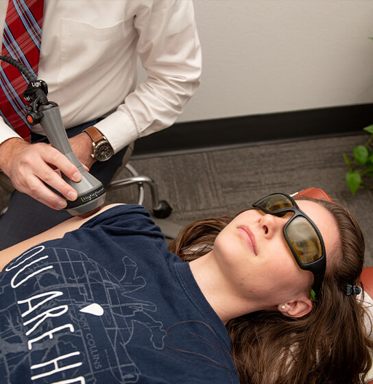 Laser therapy on arm