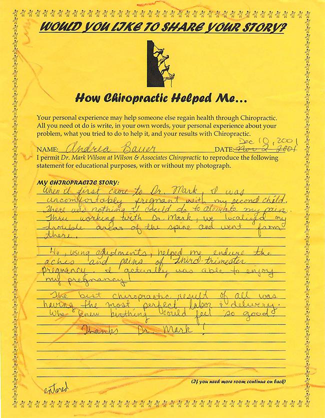 Andree's written testimonial