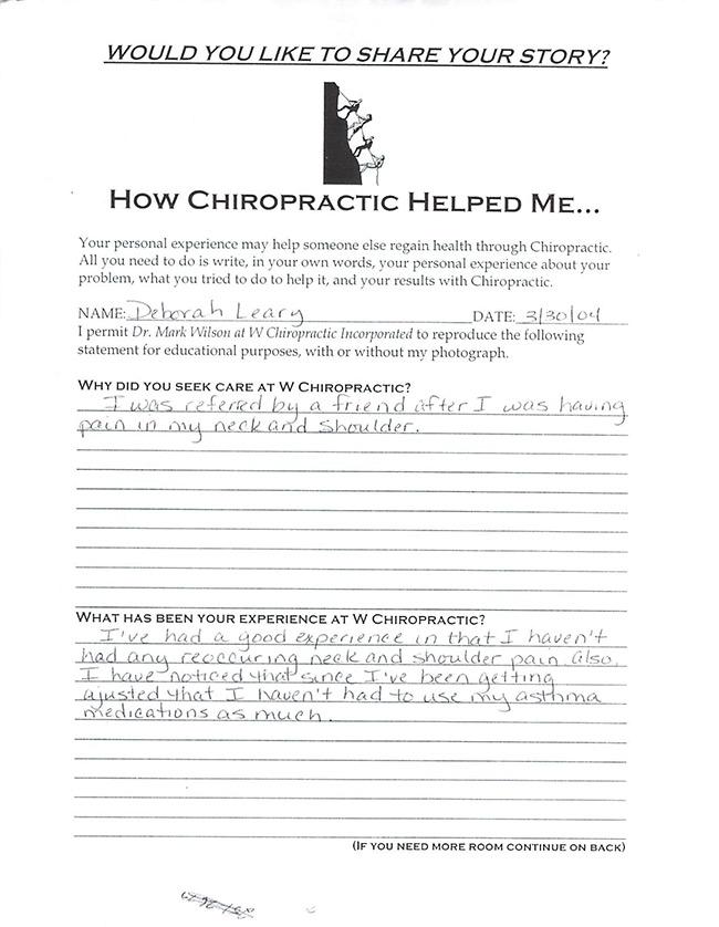 Deborah's written testimonial