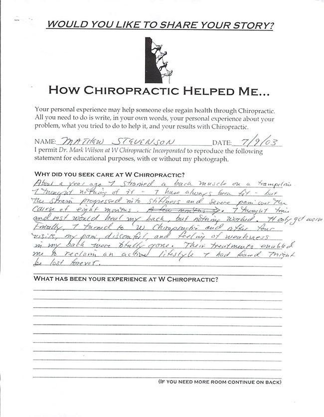 Mathew's written testimonial