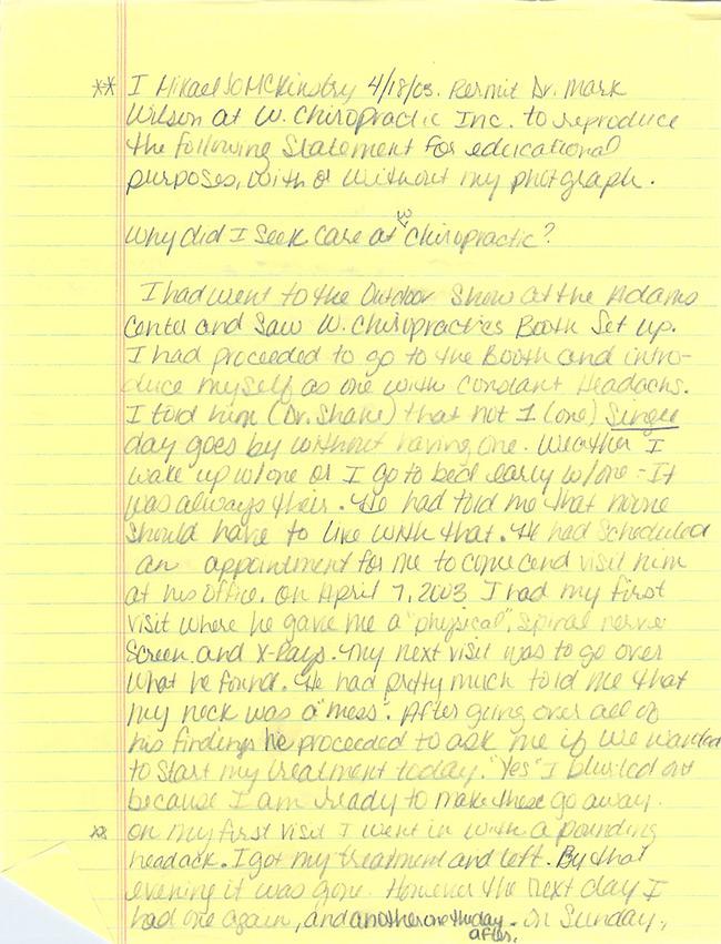 Mikael's written testimonial