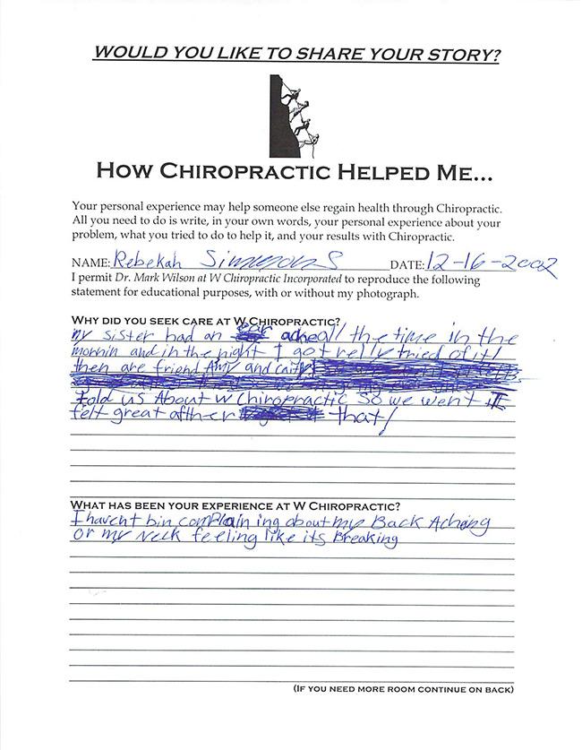 Becky's written testimonial