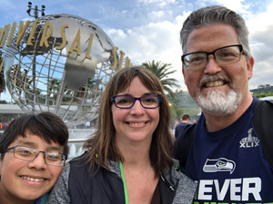 The Acosta family at Universal Studios