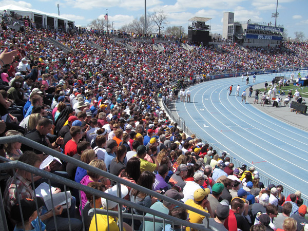 Stands of people watching track