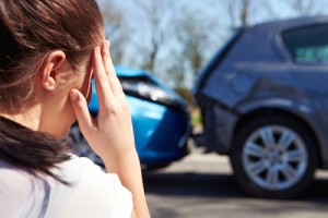 woman witnessing care accident