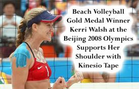 Kerri Walsh with her shoulder Kinesio tape