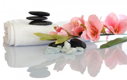 Orchid Flowers and Massage Stones