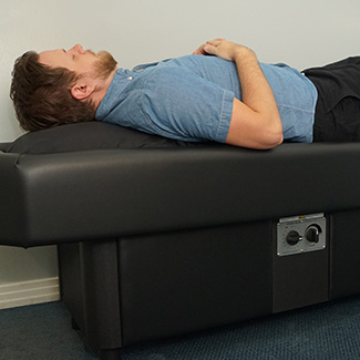 Patient on hydromassage table