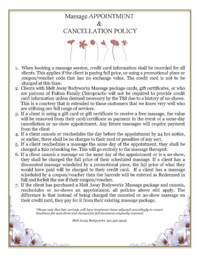 Massage Policies 2013