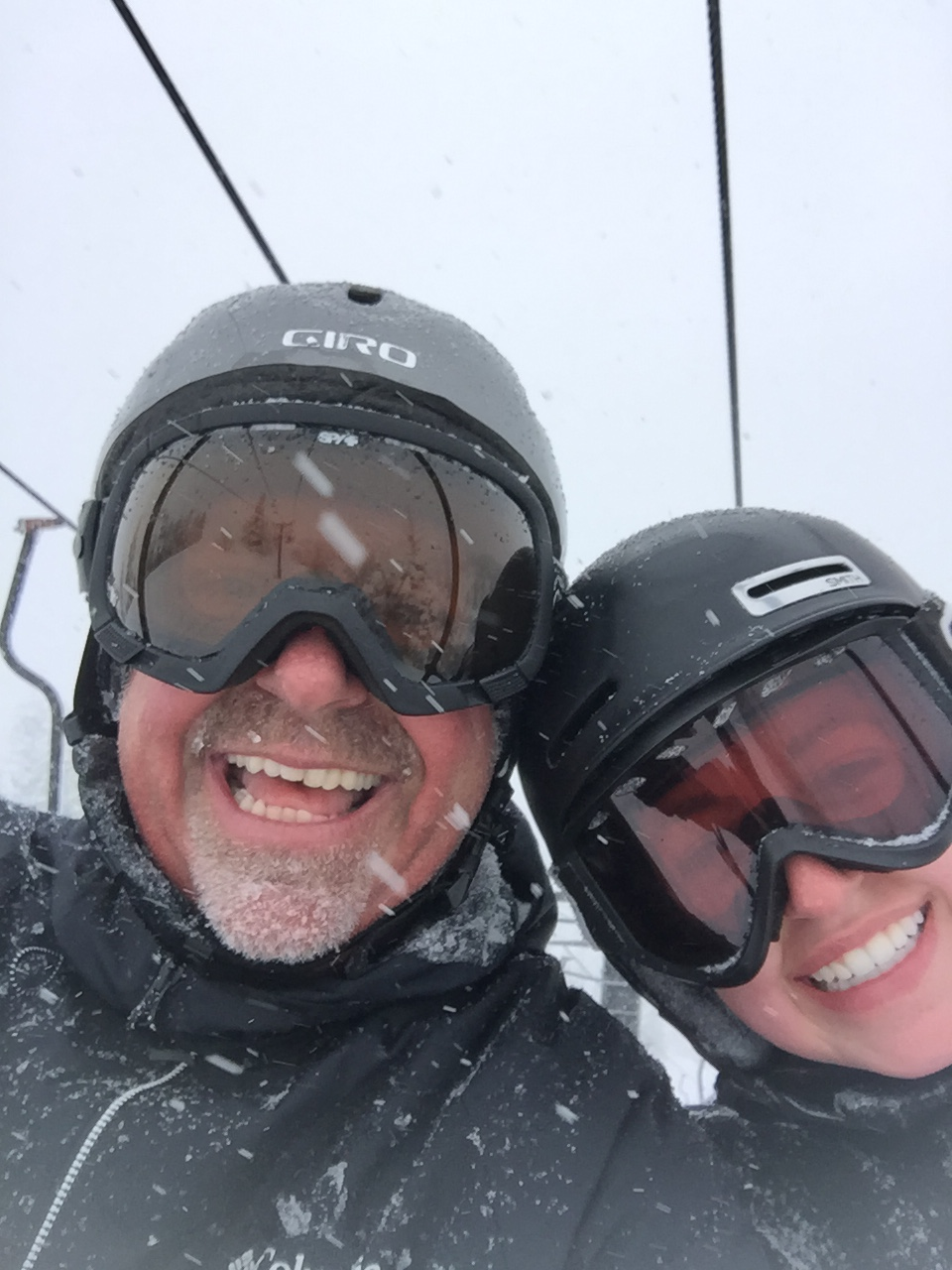 Dr. Swaim & Daughter Abbey, taking a selfie, on the Morning Star Chairlift, Bogus Basin