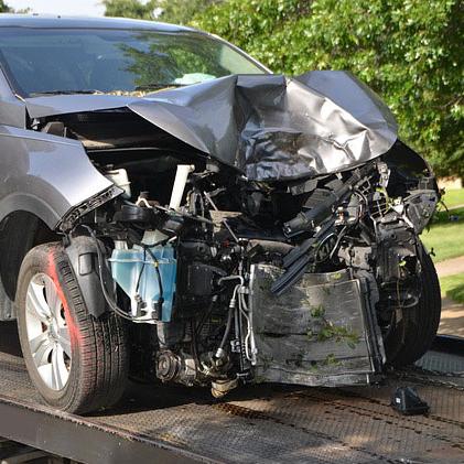 Car in auto crash