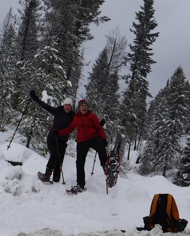 Alysson & Marge Snow Shoeing