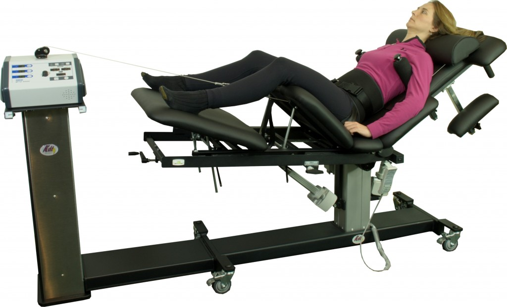 Patient in one of several positions available for low back decompression