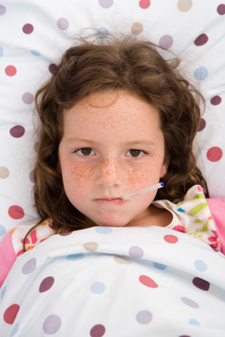 Young girl with fever
