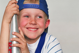 Young boy with baseball bat