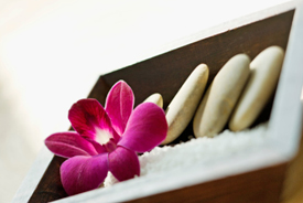 Spa set with flower and stones