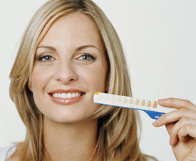 Woman holding teeth whitening chart