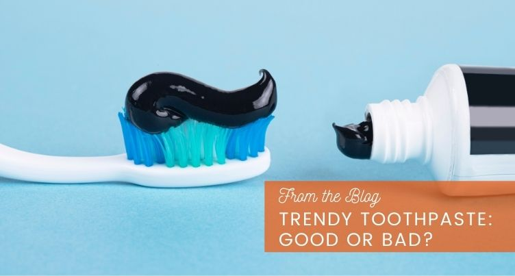 Charcoal toothpaste and brush.
